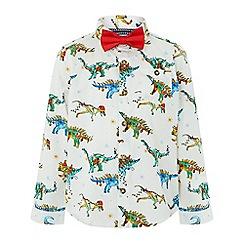 Monsoon - Boys' white festive dino shirt