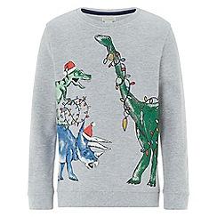 Monsoon - Boys' grey festive dino jumper