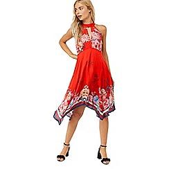 Monsoon - Red 'Jasmine' print hanky hem dress