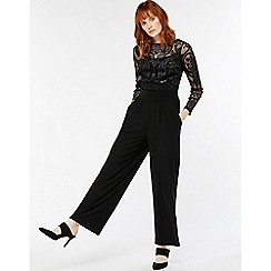 Monsoon - Black 'jaime' devore wide leg jumpsuit