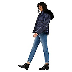 Monsoon - Blue 'Monica' quilted fur collar coat