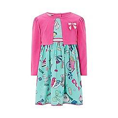 Monsoon - Blue baby 'Marlin' cardigan 2in1 dress