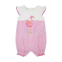 Monsoon - Pink Nb Baby 'Lila' Flamingo Romper