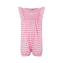Monsoon - Pink newborn baby 'Gracie' gingham romper