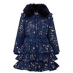 Monsoon - Girls' blue 'Gemini' unicorn padded coat