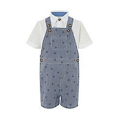 Monsoon - Blue 'Anthony' Anchor Dungaree Set