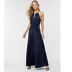 Monsoon - Blue 'Rhea' satin lace maxi dress