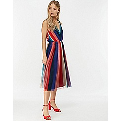 Monsoon - Blue 'Simone' stripe pleated mesh dress