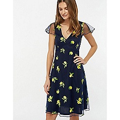 Monsoon - Blue 'Lemon' Embroidered Dress