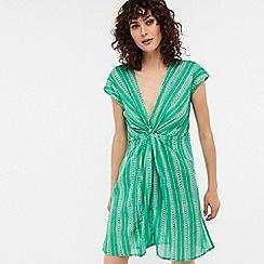 Monsoon - Green 'Jade' longline knot front kaftan