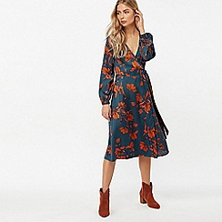 Monsoon - Blue 'Shayna' floral wrap midi dress