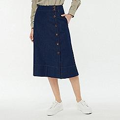Monsoon - Blue 'Maya' midi denim skirt