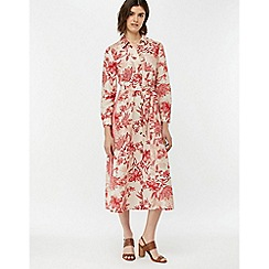 Monsoon - Cream 'Alysa' Print Linen Shirt Dress