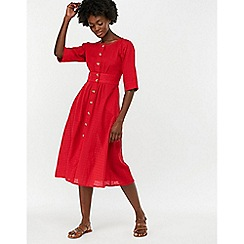 Monsoon - Red 'Etna' Cotton Midi Dress