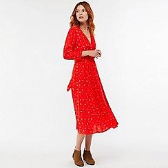 Monsoon - Red 'Betty' floral print midi dress