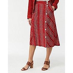 Monsoon - Red 'Itria' Printed Midi Skirt