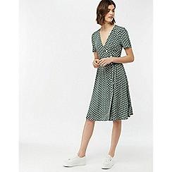 Monsoon - Green 'Monica' Print Button Midi Dress