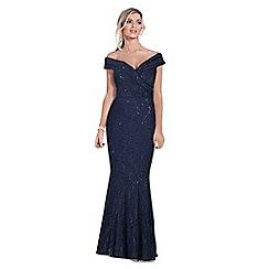 Sistaglam - Navy 'Elizabeth' bardot sequin maxi dress