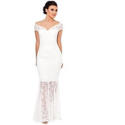 Sistaglam - White 'Carrisa' lace bardot maxi dress