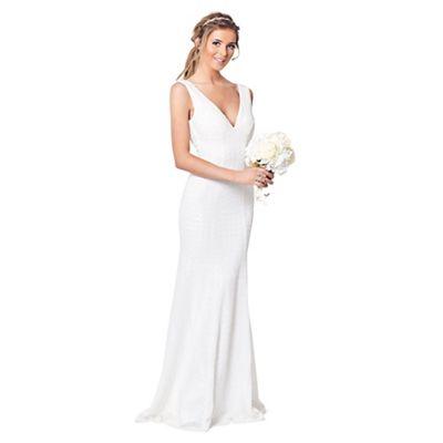 Sistaglam White \'Destiny\' lace slim fit maxi dress | Debenhams