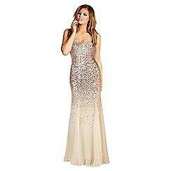 Jessica Wright for Sistaglam - Gold 'Orli' sequin strapless maxi dress