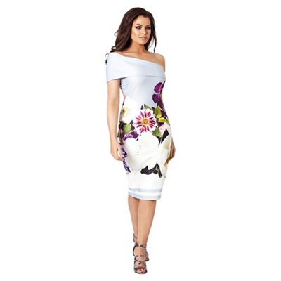 Sistaglam Love Jessica   Multicolour 'aileen' Floral Off The Shoulder Bodycon Dress by Sistaglam Love Jessica