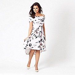 Jessica Wright for Sistaglam - Multicolour 'Heather' floral dip hem skater dress