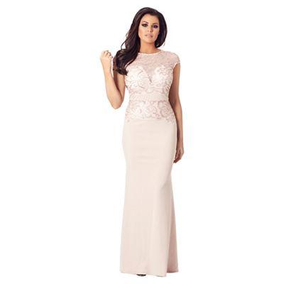 Sistaglam Love Jessica   Nude 'zendana' Vip Lace Sequin Maxi Dress by Sistaglam Love Jessica