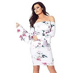 Sistaglam Love Jessica - Floral 'Emsie' frill sleeves bardot bodycon dress