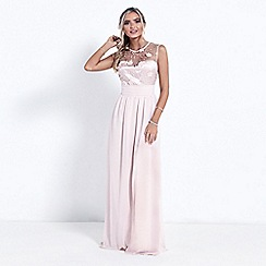 Sistaglam - Nude 'Elena' high neck embellished maxi dress