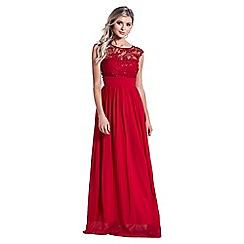 Sistaglam - Red 'Beverley' embellished maxi dress