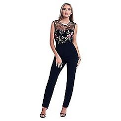Sistaglam - Black 'Tillie' floral embellished mesh jumpsuit