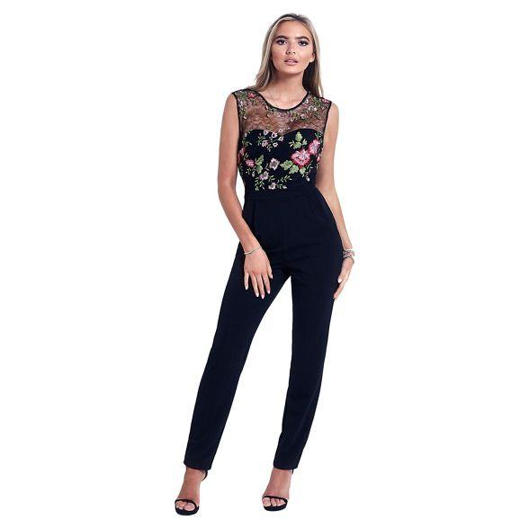 'Tillie' mesh Sistaglam jumpsuit Black embellished floral wYxWHqafP