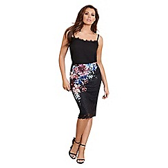 Sistaglam Love Jessica - Multi-coloured 'Draven' midi floral print lace skirt
