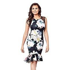 Jessica Wright for Sistaglam - Multicoloured 'Harmony' floral print bodycon frilled hem dress