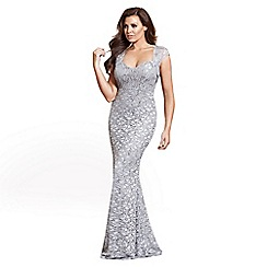 Jessica Wright for Sistaglam - Grey 'Fabiana' all over lace keyhole detail fishtail maxi dress
