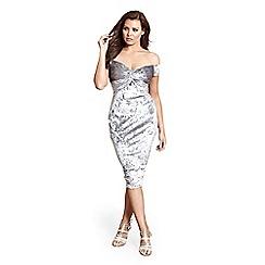 Jessica Wright for Sistaglam - Silver 'Roberta' knot detail bardot bodycon dress