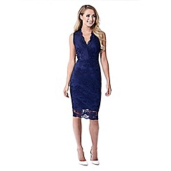 Jessica Wright for Sistaglam - Navy 'Hollie' lace v-neck bodycon dress