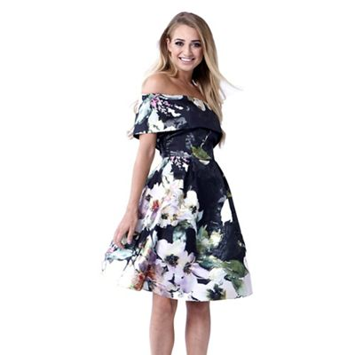 Sistaglam   Multicoloured 'kaya' Floral Off The Shoulder Skater Dress by Sistaglam