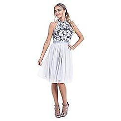 Sistaglam - Grey 'Abela' embellished high neck mini dress