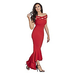 Jessica Wright for Sistaglam - Red 'Giovanna' cross front maxi dress with dipped frill hem