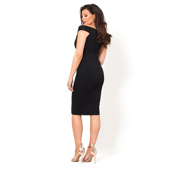 Sistaglam 'raquel' Black Love midi bodycon Jessica bust sequin dress pwFHntp1qx