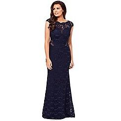 Jessica Wright for Sistaglam - Navy 'Eliora' petite lace maxi dress