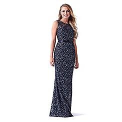 Sistaglam - Black 'Aston' lace glitter maxi dress