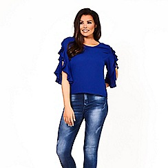 Jessica Wright for Sistaglam - Royal blue 'nadya' frilled sleeve top