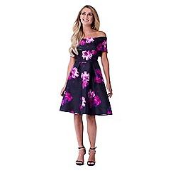 Sistaglam - Multicolour 'Cleo' floral off the shoulder skater styled skirt