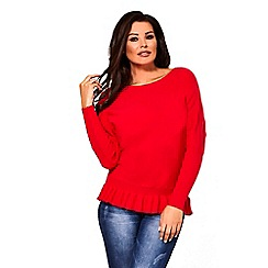 Sistaglam Love Jessica - Red 'Barbara' long sleeve frill knitted jumper