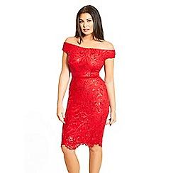 Jessica Wright for Sistaglam - Red 'Marni' VIP sequin lace bardot bodycon dress