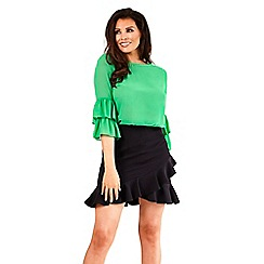 Jessica Wright for Sistaglam - Green 'Gennie' frill sleeve top