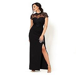 Sistaglam Love Jessica - Black 'Amie' lace high neck bodycon maxi dress